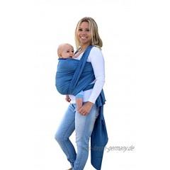 AMAZONAS Babytragetuch Carry Sling Denim TESTSIEGER bei Stiftung Warentest mit Bestnote 1,7-450 cm 0-3 Jahre bis 15 kg in Blau