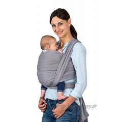 AMAZONAS Babytragetuch Carry Sling Grey TESTSIEGER bei Stiftung Warentest mit Bestnote 1,7-450 cm 0-3 Jahre bis 15 kg in Grau