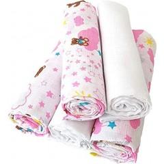5 er Pack Baby Mulltücher 5 Stück im Set 70x70 cm mit Wolken in taupe 100% Baumwolle Spucktücher Musselin Mullwindeln Wolken Rose