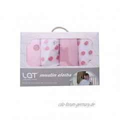 Baumwolle Mullwindeln Spucktücher Mulltücher Stoffwindeln Baby Mädchen Junge 4er Pack 70 x70 cm Mädchen