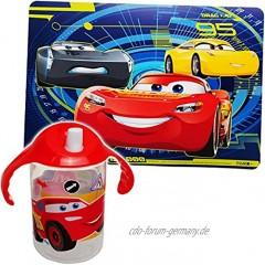 alles-meine.de GmbH 2 TLG. Set: Platzdeckchen + Trinklernbecher Trinklerntasse Trinklernflasche Disney Cars Auto Lightning McQueen 390 ml BPA frei auslaufsicher -..