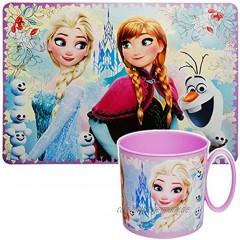 alles-meine.de GmbH 2 TLG. Set _ Unterlage + Trinkbecher Henkeltasse Disney die Eiskönigin Frozen 250 ml BPA frei Mikrowellen geeignet Kunststoff Plastik Trinkler..