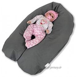 CorpoMED Stillkissen Medium 175x30cm inkl. Bezug Grey  handgenäht aus Deutschland waschbarer Bezug aus 100% Baumwolle verwendbar als Schwangerschafts-Kissen und Lagerungskissen
