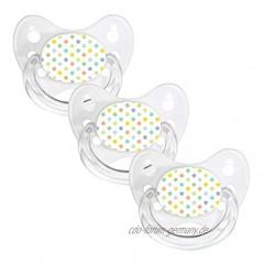 Dentistar® Silikon Schnuller 3er-Set – Größe 1 für 0-6 Monate – Zahnfreundlicher & kiefergerechter Silikonschnuller mit Dental-Stufe – Weiß mit buntem Sternen-Motiv – BPA-frei – Made in Germany