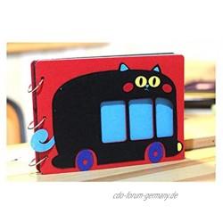 SFGH Cartoon-Filz-Fotoalbum Hand-Paste-Sammelalbum Baby-Wachstum-Gedenkpaar-Reise-Erinnerungen Color : Red Geek Bus