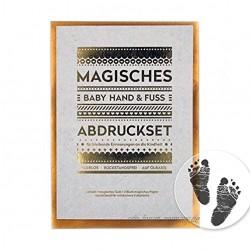 Magisches BABY ABDRUCKSET keine Tinte kein Gips!     4x Papier ca. 14 x 10 cm     KLEIN 140 x 107 mm     ausreichend für 4 Hand- oder Fußabdrücke ab Geburt möglich