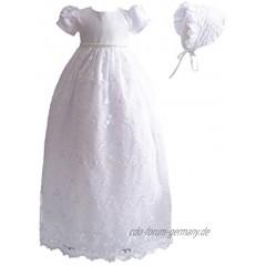 Cinda Baby-Mädchen-Spitze-langes Taufkleid mit Mütze