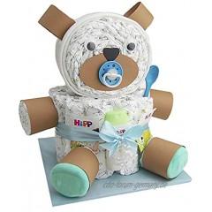 Windeltorte.com – Windelteddy für Jungen inkl. 32 LILLYDOO Windeln | Geschenk zur Geburt | Taufgeschenk | Geschenk zur Babyparty – Handgefertigte Windeltorte