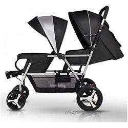 LOMJK Standardkinderwagen Twin Baby-Kinderwagen EIN Button-Rückzug Leichte Faltbare Sitzen und Liegestütze Doppelwagen für Zwei Kinder Baby Kinderwagen Buggys Color : Black+Silver Tube